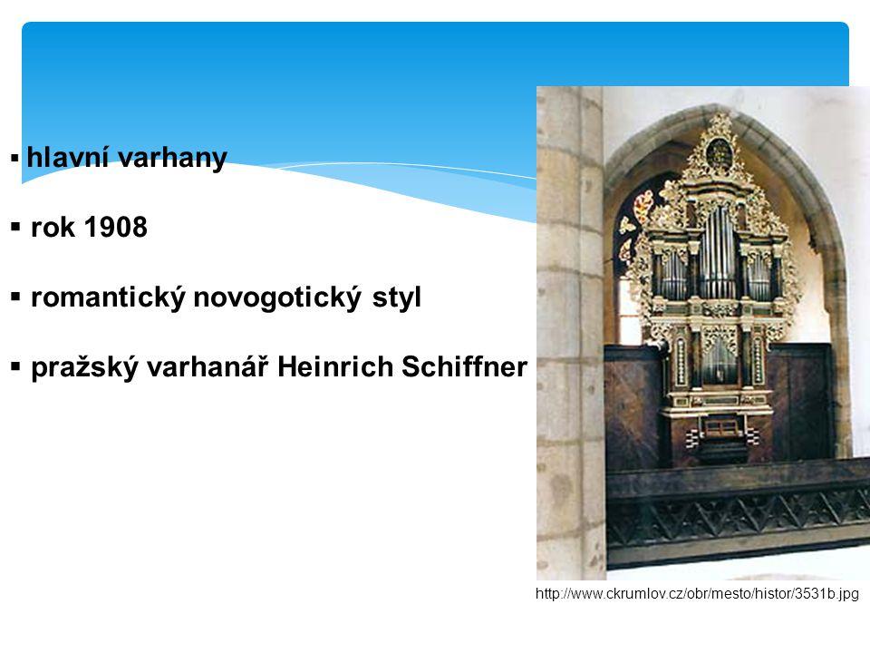  hlavní varhany  rok 1908  romantický novogotický styl  pražský varhanář Heinrich Schiffner http://www.ckrumlov.cz/obr/mesto/histor/3531b.jpg
