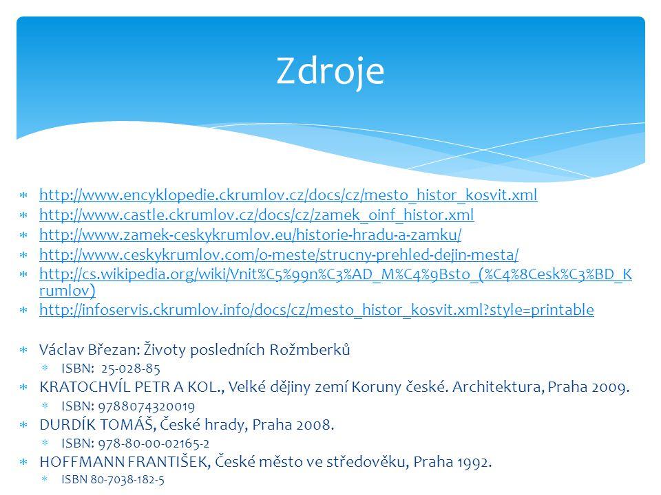  http://www.encyklopedie.ckrumlov.cz/docs/cz/mesto_histor_kosvit.xml http://www.encyklopedie.ckrumlov.cz/docs/cz/mesto_histor_kosvit.xml  http://www.castle.ckrumlov.cz/docs/cz/zamek_oinf_histor.xml http://www.castle.ckrumlov.cz/docs/cz/zamek_oinf_histor.xml  http://www.zamek-ceskykrumlov.eu/historie-hradu-a-zamku/ http://www.zamek-ceskykrumlov.eu/historie-hradu-a-zamku/  http://www.ceskykrumlov.com/o-meste/strucny-prehled-dejin-mesta/ http://www.ceskykrumlov.com/o-meste/strucny-prehled-dejin-mesta/  http://cs.wikipedia.org/wiki/Vnit%C5%99n%C3%AD_M%C4%9Bsto_(%C4%8Cesk%C3%BD_K rumlov) http://cs.wikipedia.org/wiki/Vnit%C5%99n%C3%AD_M%C4%9Bsto_(%C4%8Cesk%C3%BD_K rumlov)  http://infoservis.ckrumlov.info/docs/cz/mesto_histor_kosvit.xml?style=printable http://infoservis.ckrumlov.info/docs/cz/mesto_histor_kosvit.xml?style=printable  Václav Březan: Životy posledních Rožmberků  ISBN: 25-028-85  KRATOCHVÍL PETR A KOL., Velké dějiny zemí Koruny české.