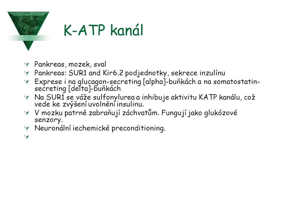 K-ATP kanál  Pankreas, mozek, sval  Pankreas: SUR1 and Kir6.2 podjednotky, sekrece inzulínu  Exprese i na glucagon-secreting [alpha]-buňkách a na s