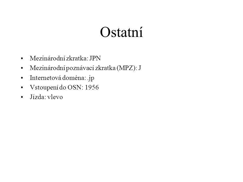 Ostatní Mezinárodní zkratka: JPN Mezinárodní poznávací zkratka (MPZ): J Internetová doména:.jp Vstoupení do OSN: 1956 Jízda: vlevo