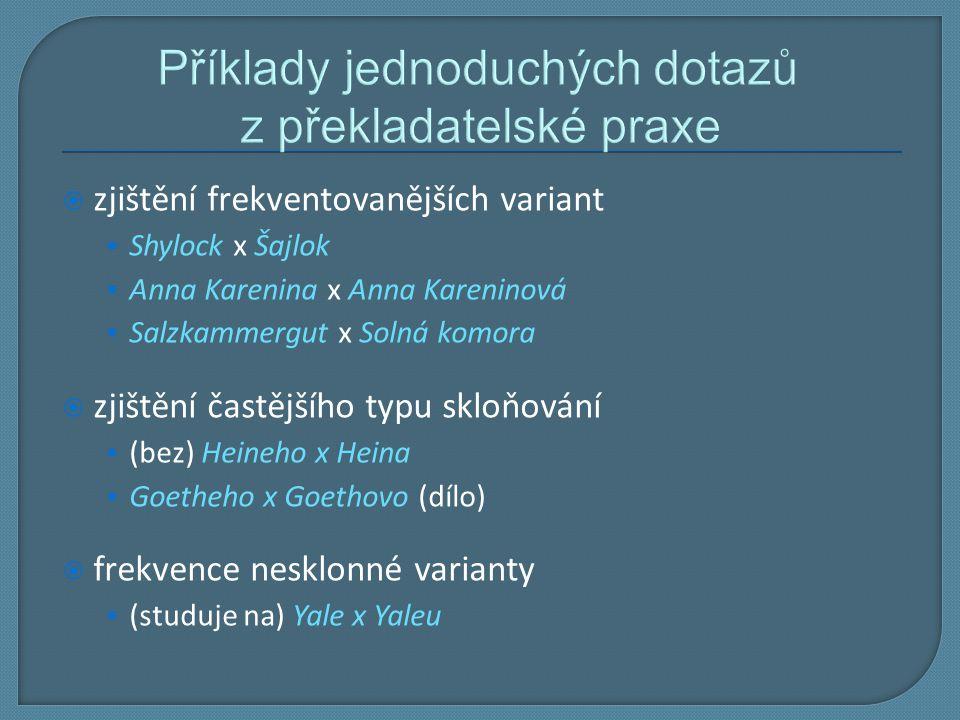 Příklady jednoduchých dotazů z překladatelské praxe  zjištění frekventovanějších variant Shylock x Šajlok Anna Karenina x Anna Kareninová Salzkammerg
