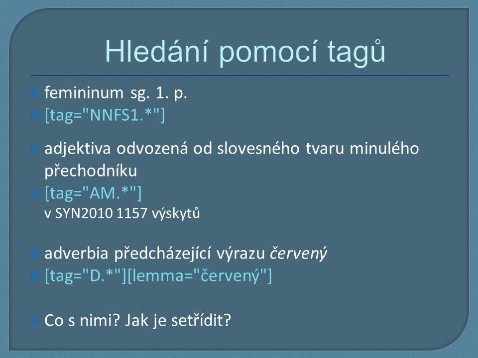 Hledání pomocí tagů  femininum sg. 1. p.  [tag=