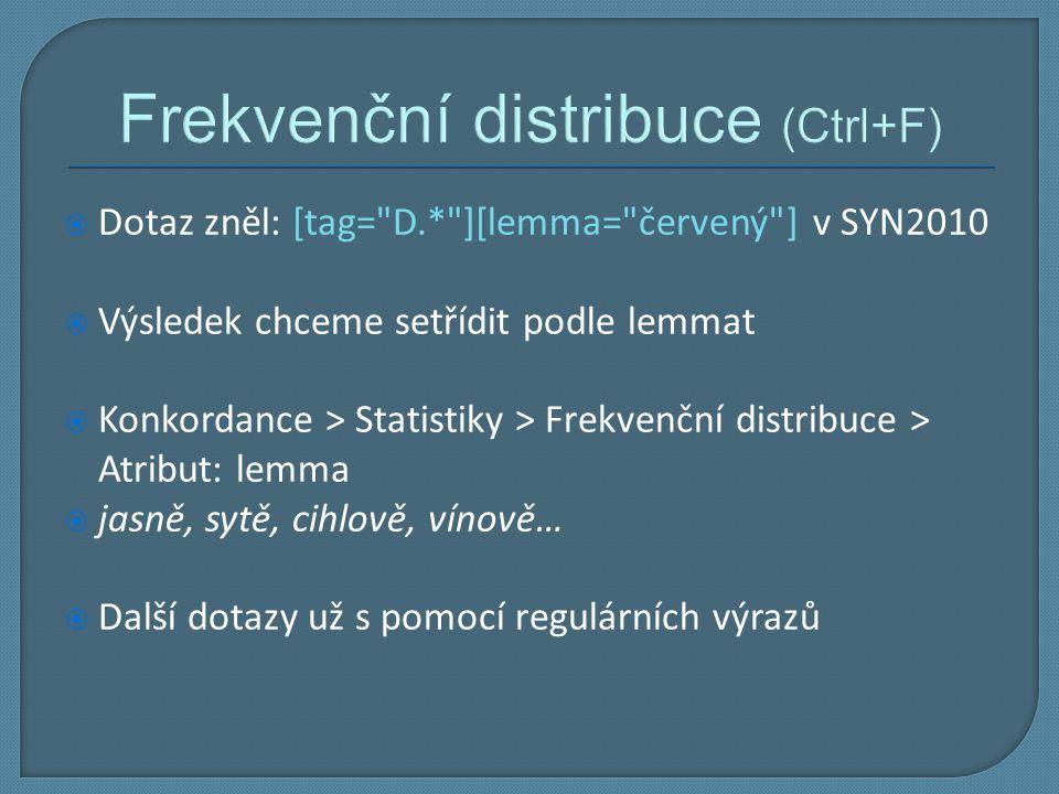 Frekvenční distribuce (Ctrl+F)  Dotaz zněl: [tag=