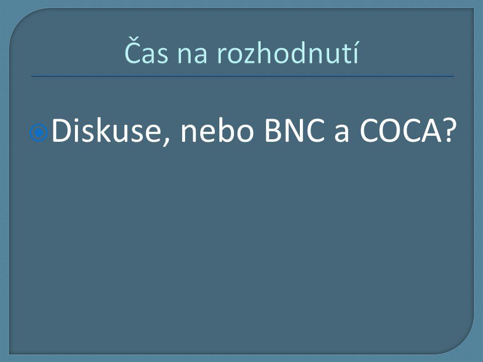 Čas na rozhodnutí  Diskuse, nebo BNC a COCA?