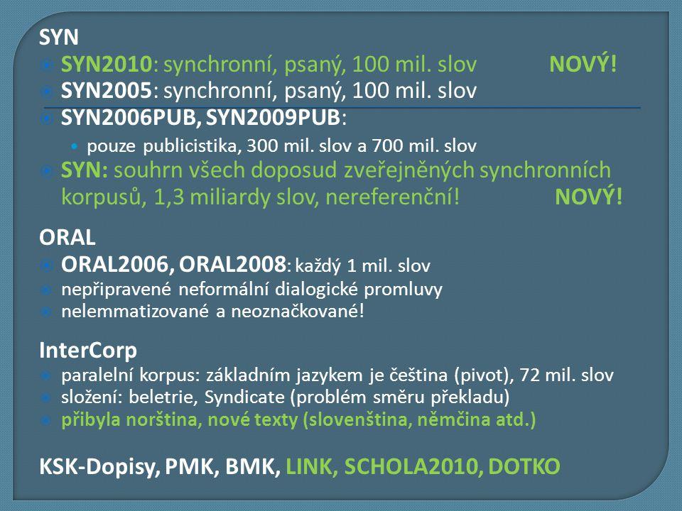 SYN  SYN2010: synchronní, psaný, 100 mil. slov NOVÝ!  SYN2005: synchronní, psaný, 100 mil. slov  SYN2006PUB, SYN2009PUB: pouze publicistika, 300 mi