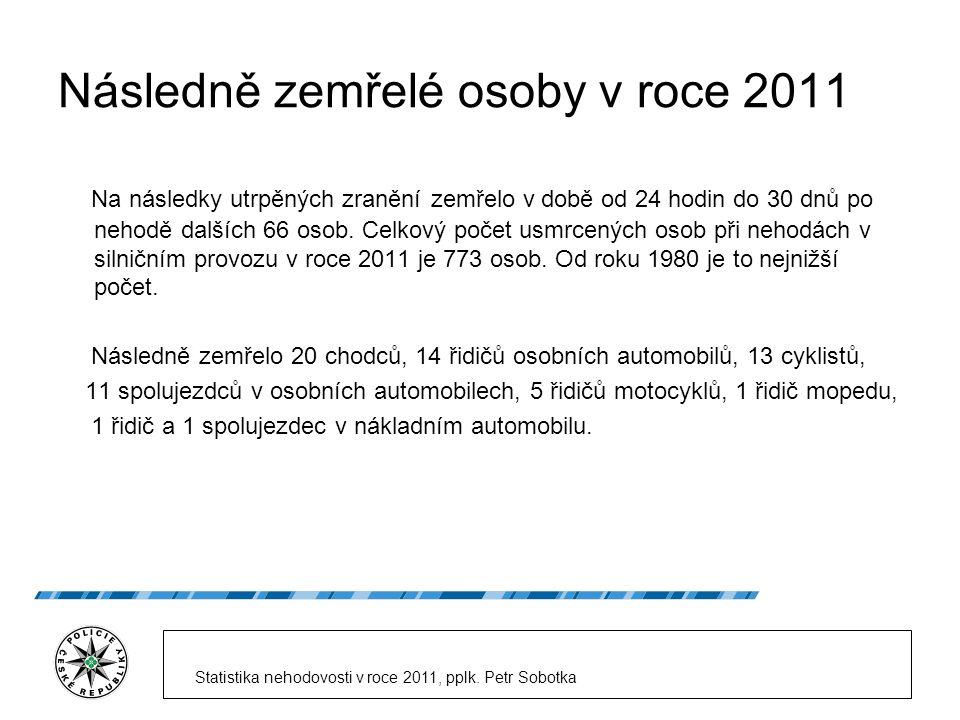 Následně zemřelé osoby v roce 2011 Na následky utrpěných zranění zemřelo v době od 24 hodin do 30 dnů po nehodě dalších 66 osob.