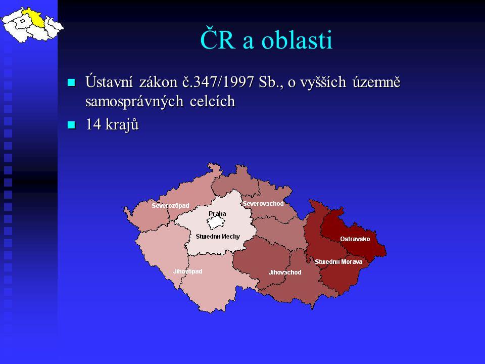 Ústavní zákon č.347/1997 Sb., o vyšších územně samosprávných celcích Ústavní zákon č.347/1997 Sb., o vyšších územně samosprávných celcích 14 krajů 14