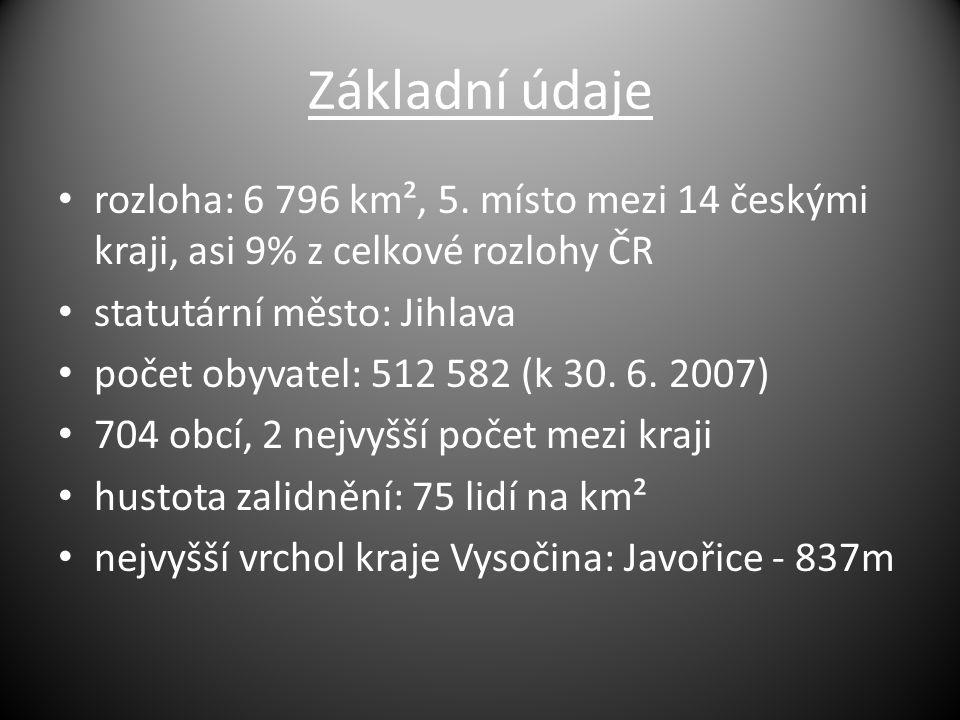 Základní údaje rozloha: 6 796 km², 5. místo mezi 14 českými kraji, asi 9% z celkové rozlohy ČR statutární město: Jihlava počet obyvatel: 512 582 (k 30