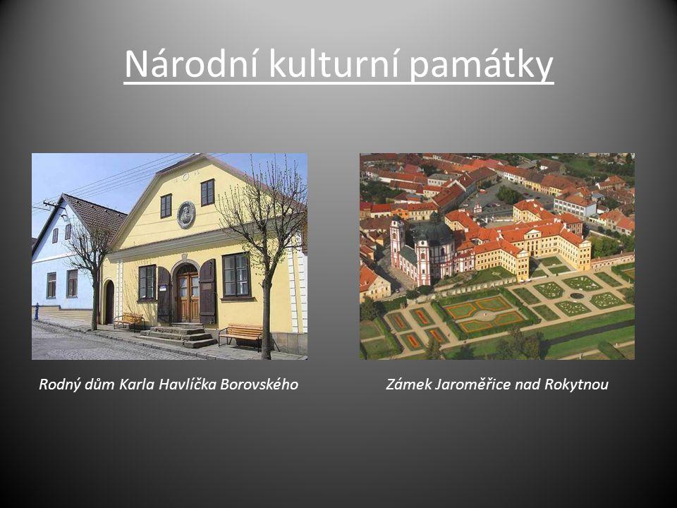 Národní kulturní památky Rodný dům Karla Havlíčka BorovskéhoZámek Jaroměřice nad Rokytnou