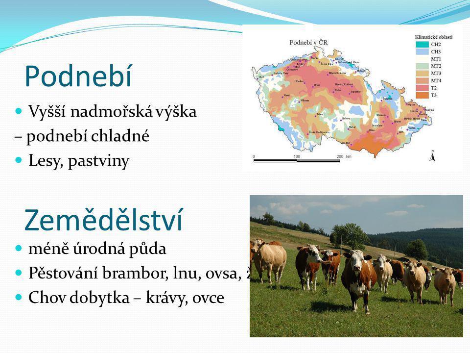 Podnebí Vyšší nadmořská výška – podnebí chladné Lesy, pastviny Zemědělství méně úrodná půda Pěstování brambor, lnu, ovsa, žita Chov dobytka – krávy, o