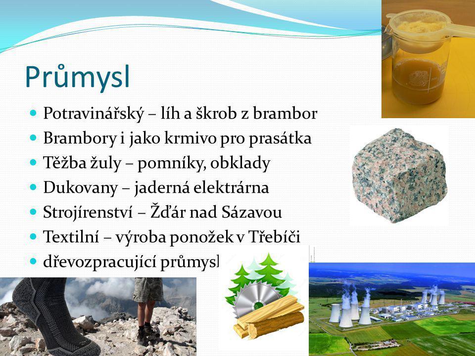Průmysl Potravinářský – líh a škrob z brambor Brambory i jako krmivo pro prasátka Těžba žuly – pomníky, obklady Dukovany – jaderná elektrárna Strojíre