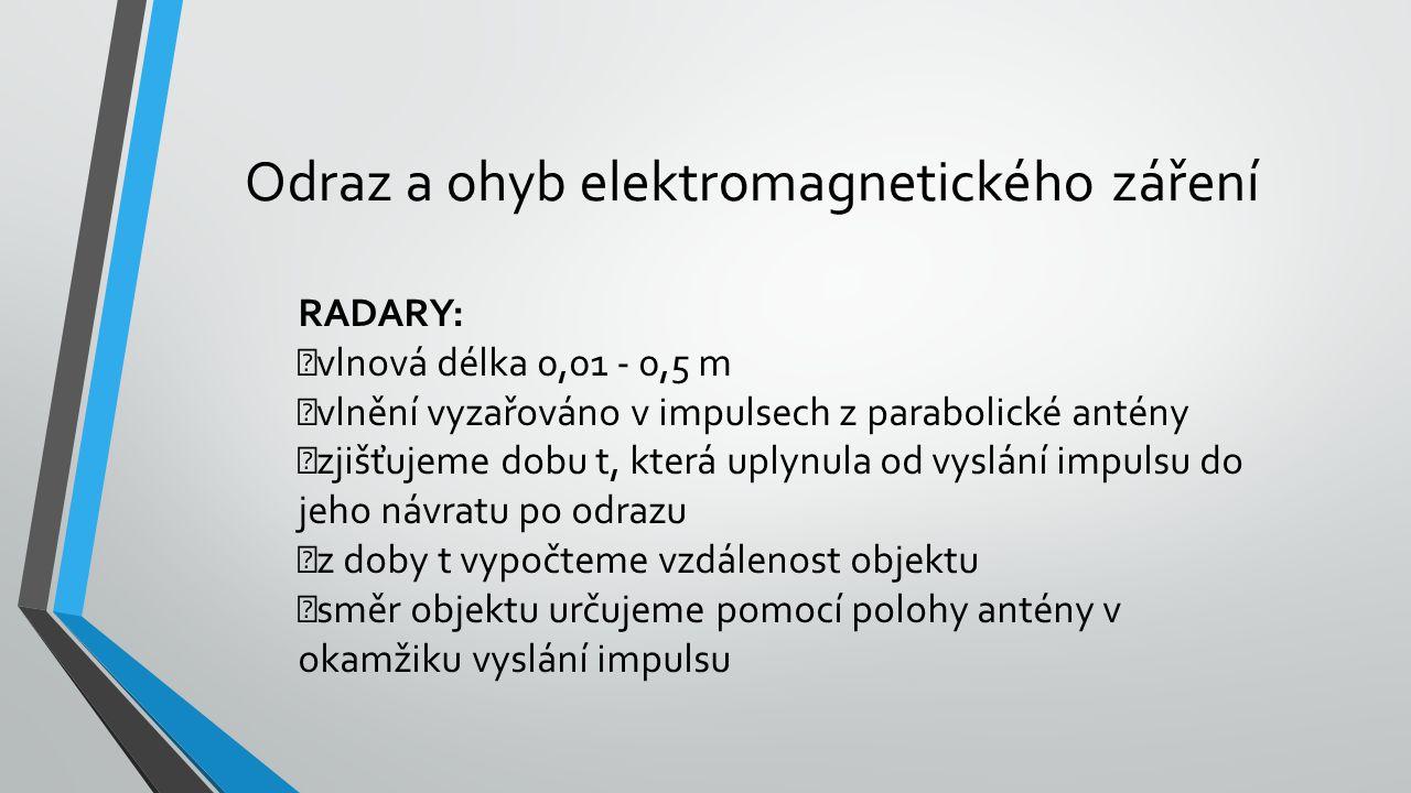 Odraz a ohyb elektromagnetického záření RADARY: vlnová délka 0,01 - 0,5 m vlnění vyzařováno v impulsech z parabolické antény zjišťujeme dobu t, která