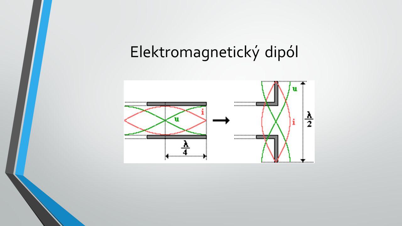 Elektromagnetický dipól se používá jako anténa u vysílačů i přijímačů ve sdělovací technice: 1.