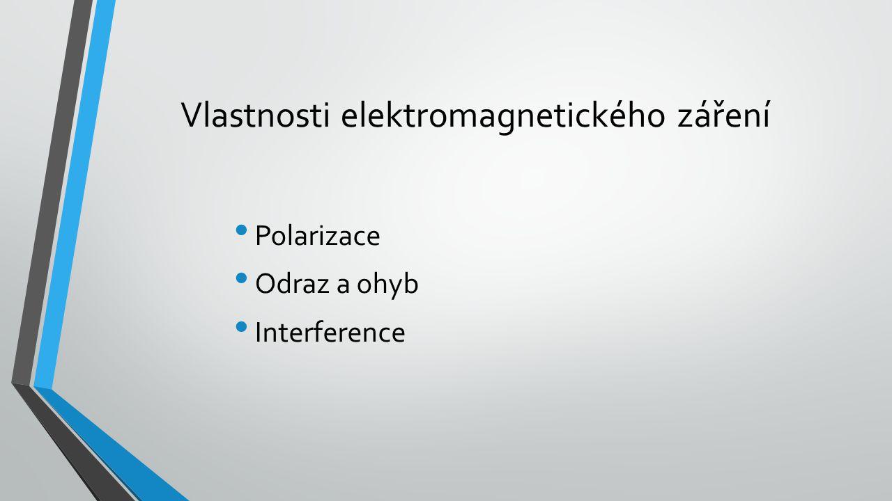 Polarizace elektromagnetického záření dvě vektorové složky, tedy vektor elektrické složky kolmý na složku magnetického pole Obě složky jsou v každém okamžiku na sebe navzájem kolmé mohou se otáčet okolo vektoru šíření, tento fenomén popisuje polarizace