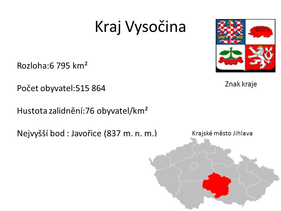 Kraj Vysočina Rozloha:6 795 km² Počet obyvatel:515 864 Hustota zalidnění:76 obyvatel/km² Nejvyšší bod : Javořice (837 m.