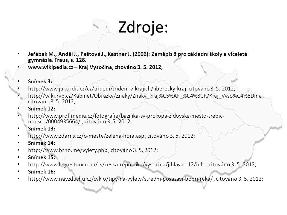Zdroje: Jeřábek M., Anděl J., Peštová J., Kastner J. (2006): Zeměpis 8 pro základní školy a víceletá gymnázia. Fraus, s. 128. www.wikipedia.cz – Kraj