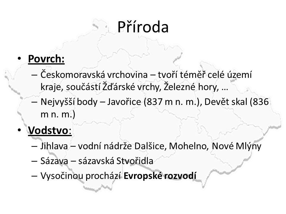 Příroda Povrch: – Českomoravská vrchovina – tvoří téměř celé území kraje, součástí Žďárské vrchy, Železné hory, … – Nejvyšší body – Javořice (837 m n.