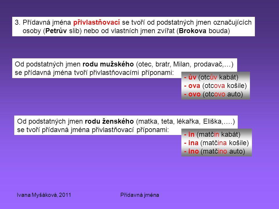 Ivana Myšáková, 2011Přídavná jména 3. Přídavná jména přivlastňovací se tvoří od podstatných jmen označujících osoby (Petrův slib) nebo od vlastních jm