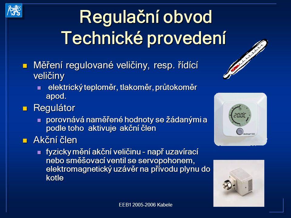 EEB1 2005-2006 Kabele Regulační obvod Technické provedení Regulační obvod Technické provedení Měření regulované veličiny, resp.