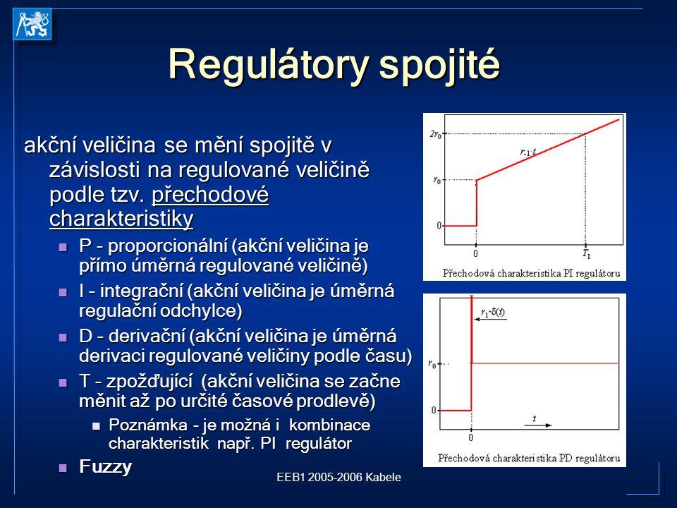 EEB1 2005-2006 Kabele Regulátory spojité akční veličina se mění spojitě v závislosti na regulované veličině podle tzv.