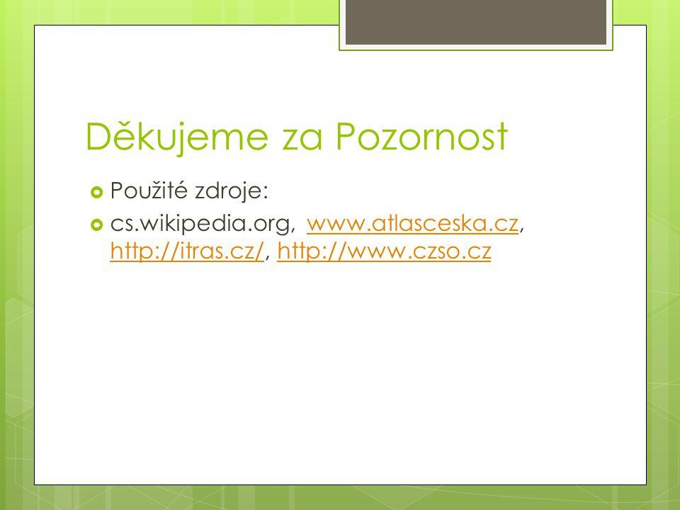 Děkujeme za Pozornost  Použité zdroje:  cs.wikipedia.org, www.atlasceska.cz, http://itras.cz/, http://www.czso.czwww.atlasceska.cz http://itras.cz/http://www.czso.cz