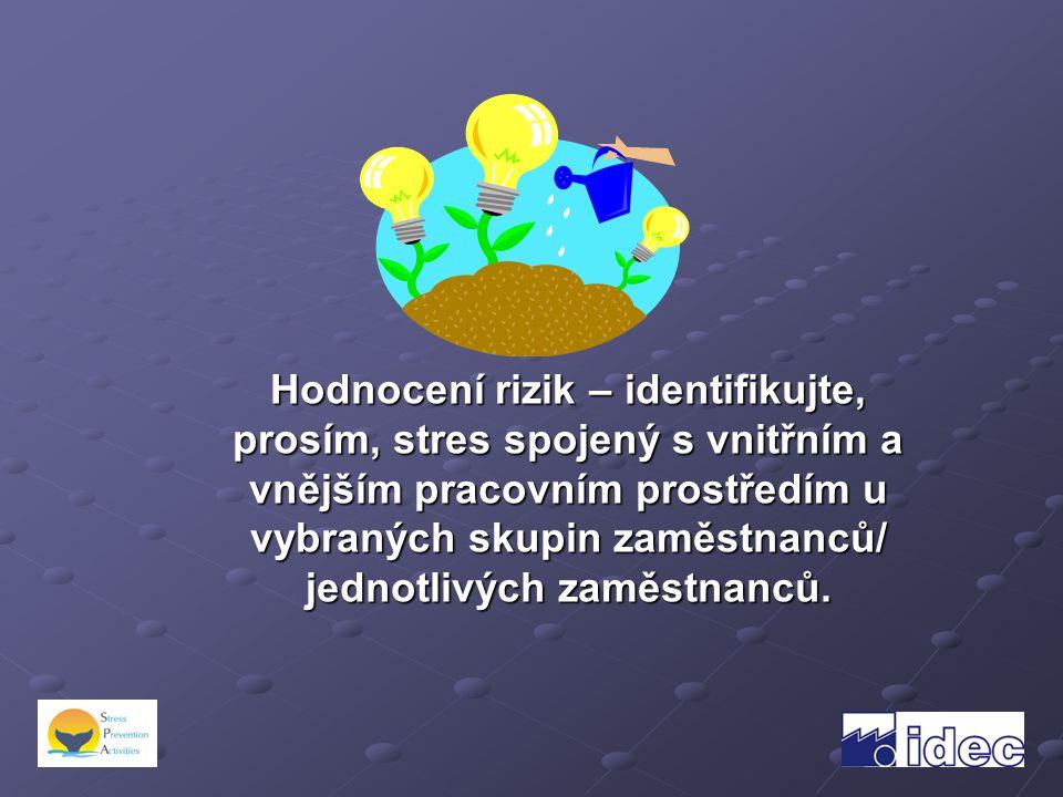Hodnocení rizik – identifikujte, prosím, stres spojený s vnitřním a vnějším pracovním prostředím u vybraných skupin zaměstnanců/ jednotlivých zaměstnanců.