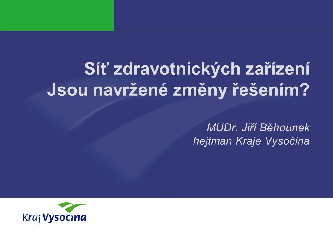 Síť zdravotnických zařízení Jsou navržené změny řešením MUDr. Jiří Běhounek hejtman Kraje Vysočina