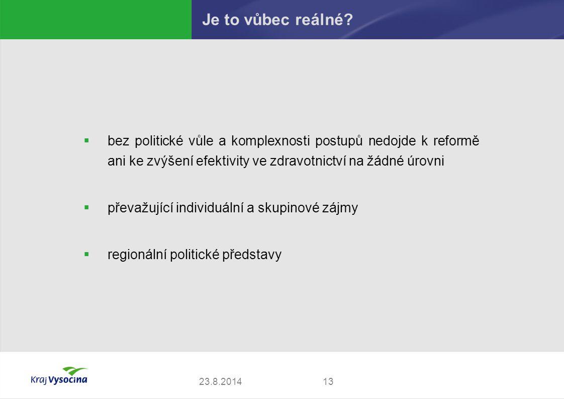  bez politické vůle a komplexnosti postupů nedojde k reformě ani ke zvýšení efektivity ve zdravotnictví na žádné úrovni  převažující individuální a skupinové zájmy  regionální politické představy 1323.8.2014 Je to vůbec reálné?