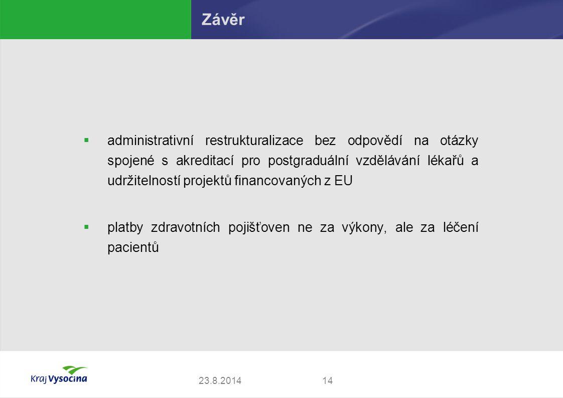  administrativní restrukturalizace bez odpovědí na otázky spojené s akreditací pro postgraduální vzdělávání lékařů a udržitelností projektů financovaných z EU  platby zdravotních pojišťoven ne za výkony, ale za léčení pacientů 1423.8.2014 Závěr
