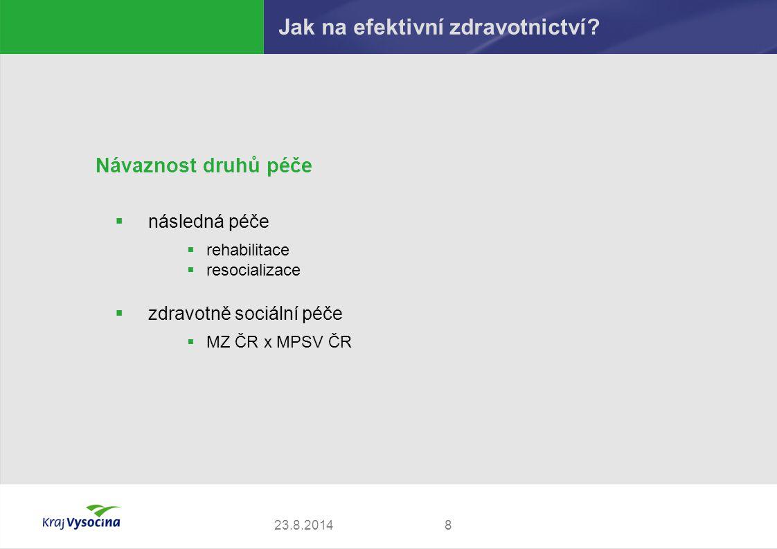 Návaznost druhů péče  následná péče  rehabilitace  resocializace  zdravotně sociální péče  MZ ČR x MPSV ČR 823.8.2014 Jak na efektivní zdravotnictví