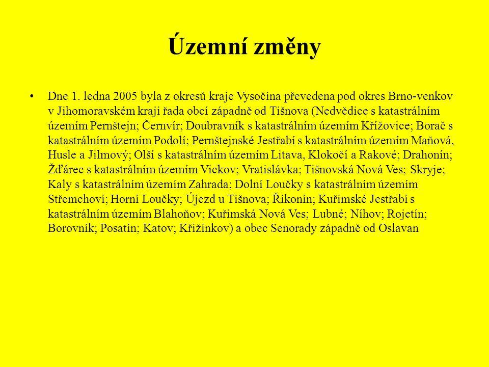 Územní změny Dne 1. ledna 2005 byla z okresů kraje Vysočina převedena pod okres Brno-venkov v Jihomoravském kraji řada obcí západně od Tišnova (Nedvěd