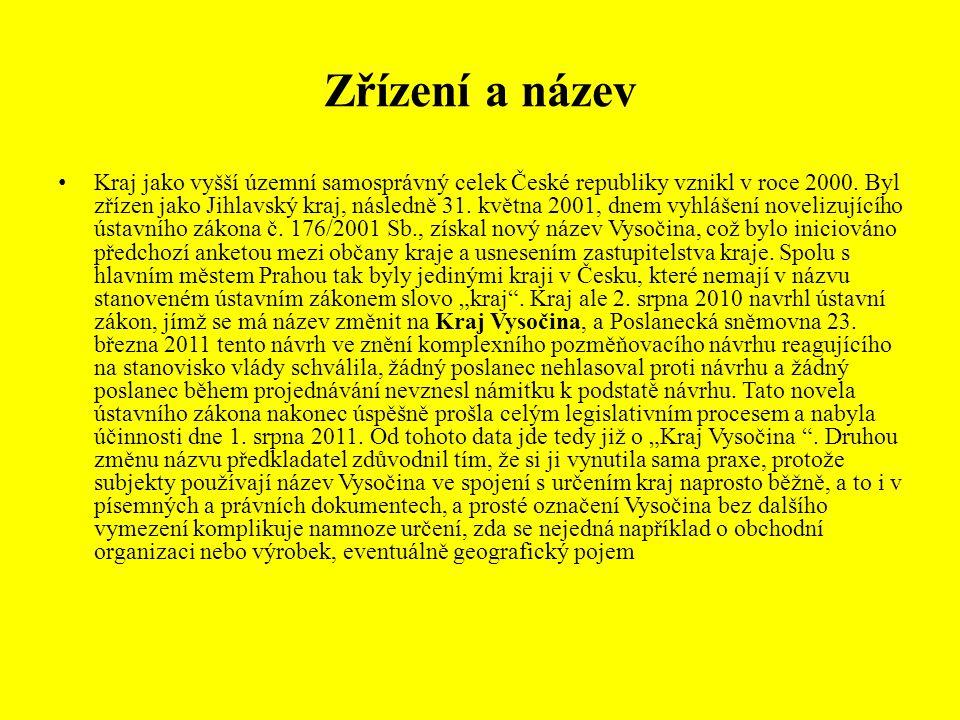 Zřízení a název Kraj jako vyšší územní samosprávný celek České republiky vznikl v roce 2000. Byl zřízen jako Jihlavský kraj, následně 31. května 2001,