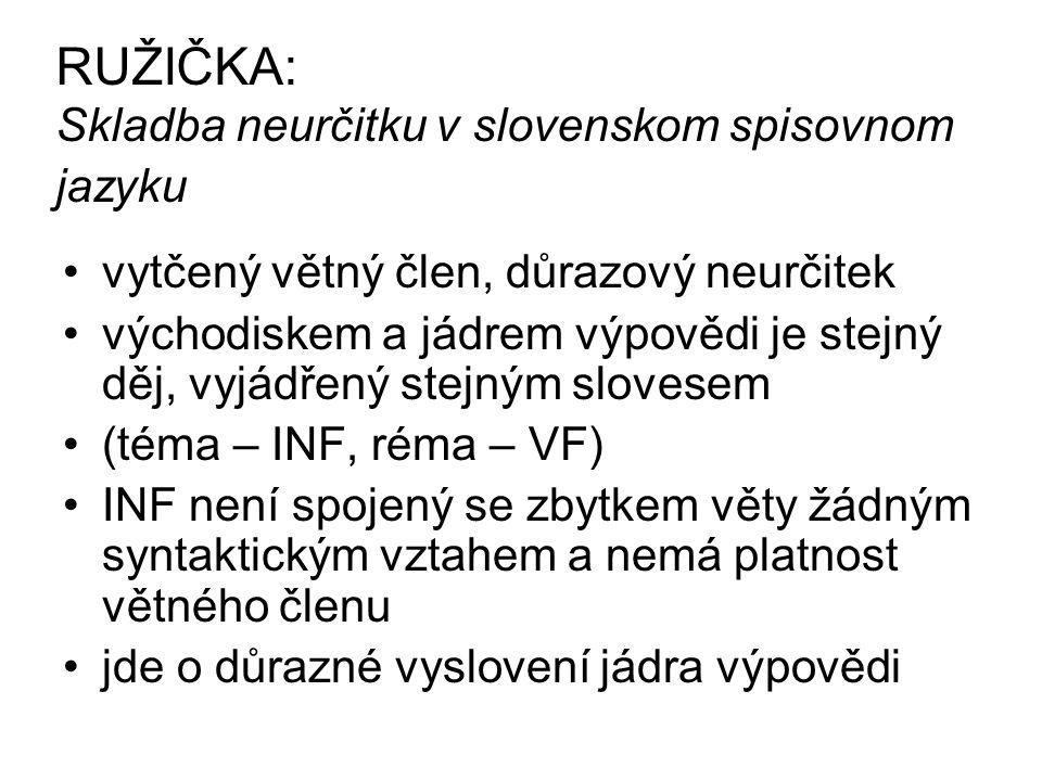 RUŽIČKA: Skladba neurčitku v slovenskom spisovnom jazyku vytčený větný člen, důrazový neurčitek východiskem a jádrem výpovědi je stejný děj, vyjádřený stejným slovesem (téma – INF, réma – VF) INF není spojený se zbytkem věty žádným syntaktickým vztahem a nemá platnost větného členu jde o důrazné vyslovení jádra výpovědi