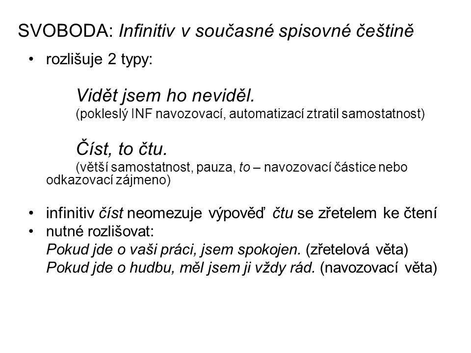 SVOBODA: Infinitiv v současné spisovné češtině rozlišuje 2 typy: Vidět jsem ho neviděl.