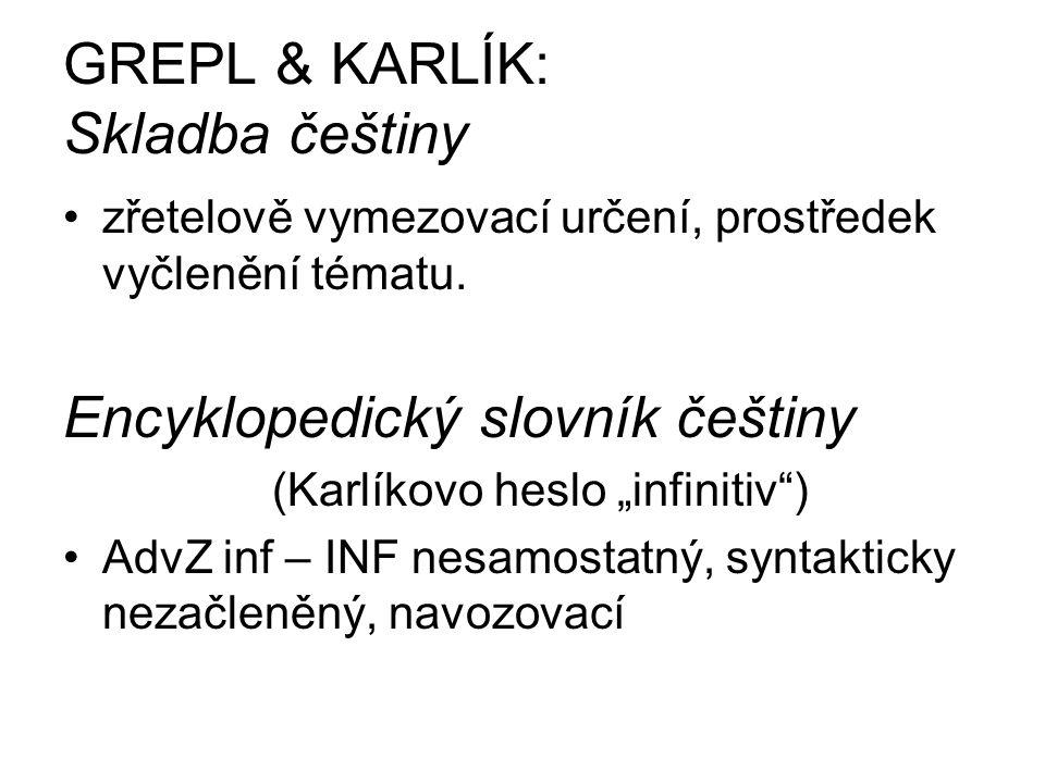 GREPL & KARLÍK: Skladba češtiny zřetelově vymezovací určení, prostředek vyčlenění tématu.