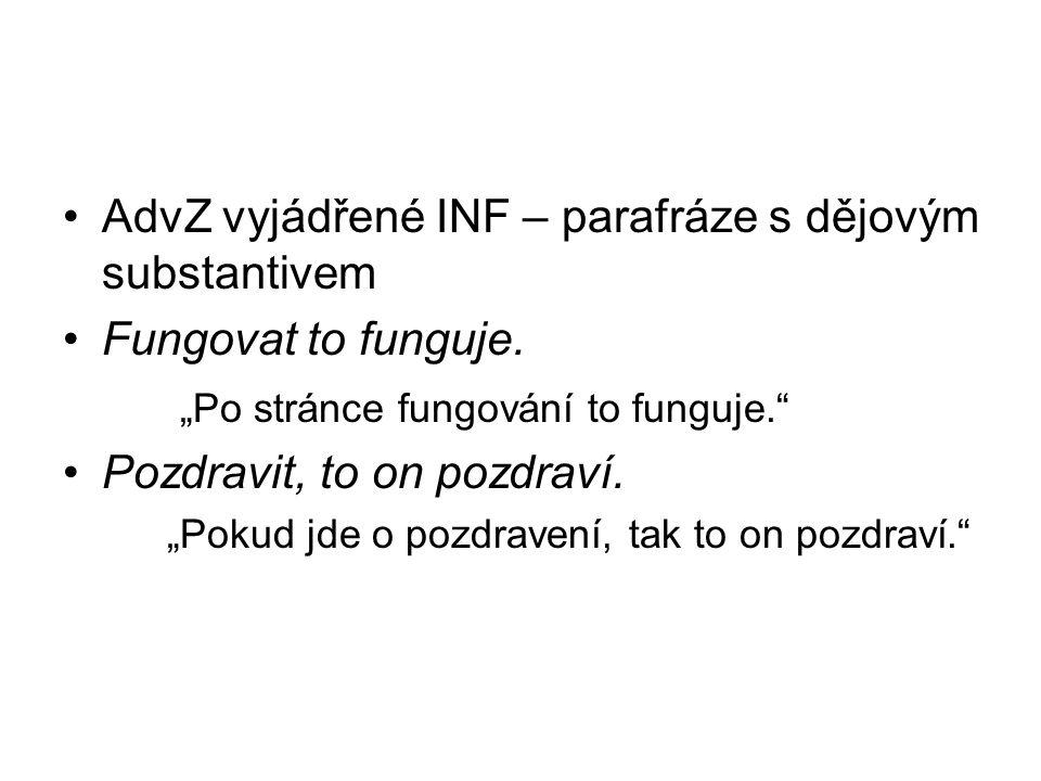 AdvZ vyjádřené INF – parafráze s dějovým substantivem Fungovat to funguje.