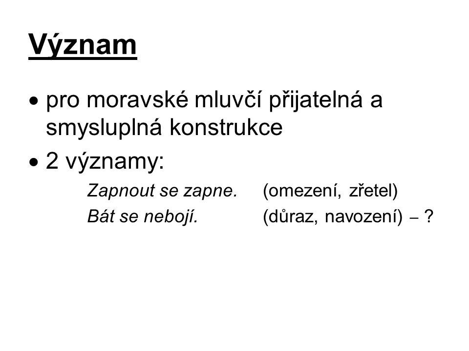 Význam  pro moravské mluvčí přijatelná a smysluplná konstrukce  2 významy: Zapnout se zapne.