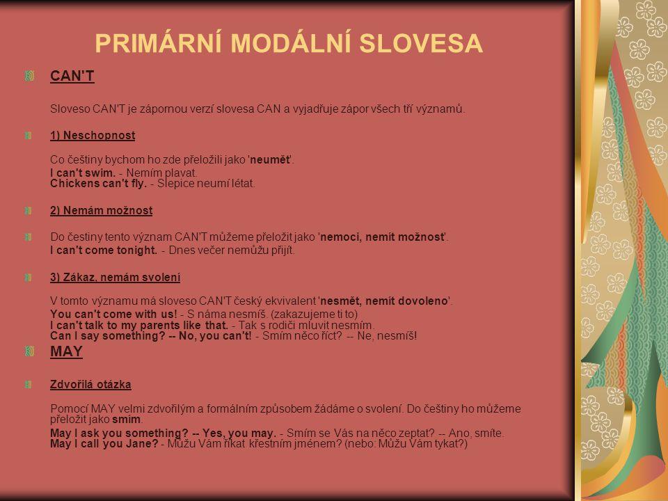 PRIMÁRNÍ MODÁLNÍ SLOVESA CAN'T Sloveso CAN'T je zápornou verzí slovesa CAN a vyjadřuje zápor všech tří významů. 1) Neschopnost Co češtiny bychom ho zd