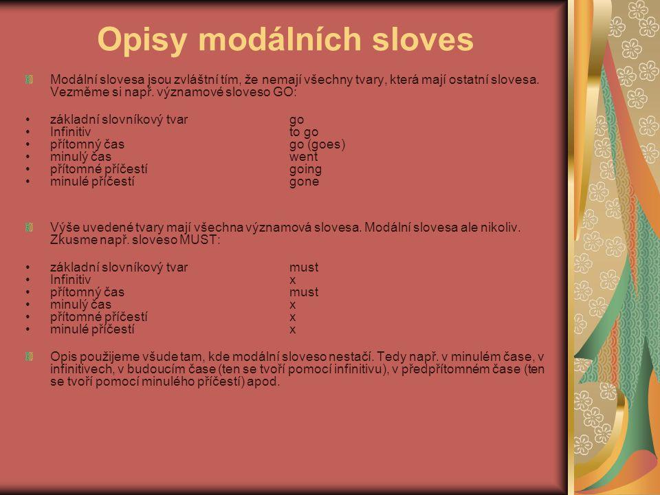 Opisy modálních sloves Modální slovesa jsou zvláštní tím, že nemají všechny tvary, která mají ostatní slovesa.