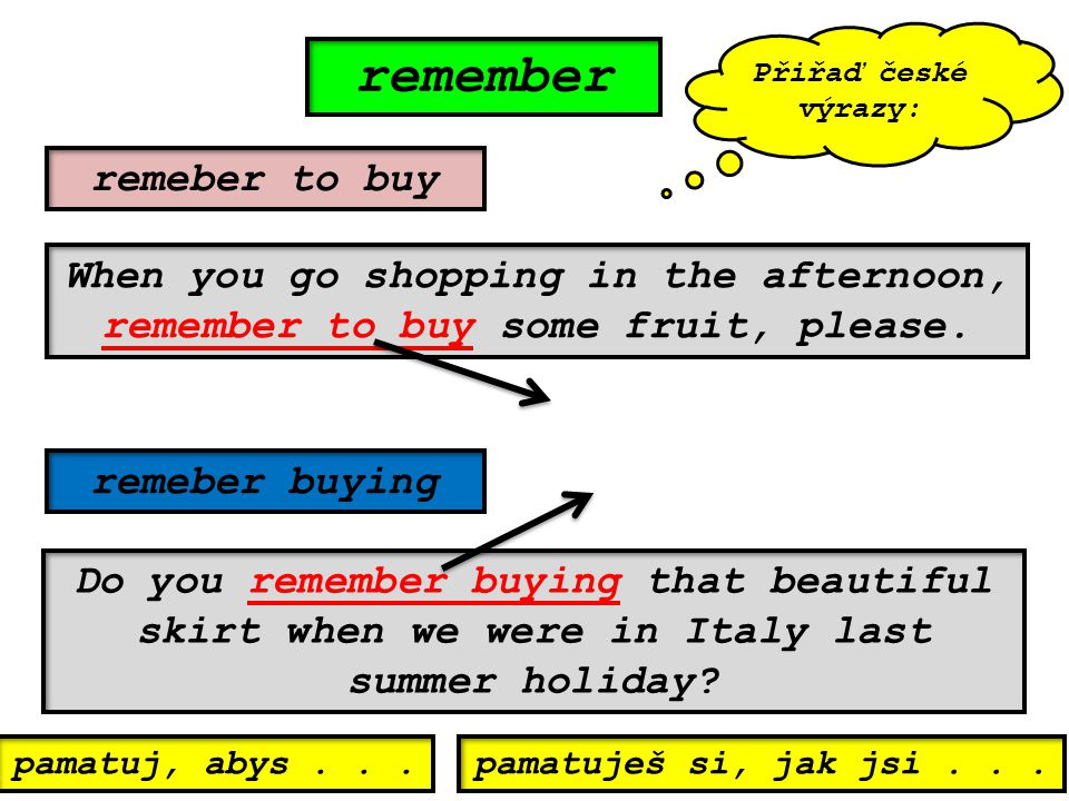 remember remeber to buy remeber buying When you go shopping in the afternoon, remember to buy some fruit, please.