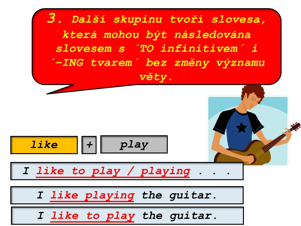 3. Další skupinu tvoří slovesa, která mohou být následována slovesem s ´TO infinitivem´ i ´–ING tvarem´ bez změny významu věty. like I like to play /