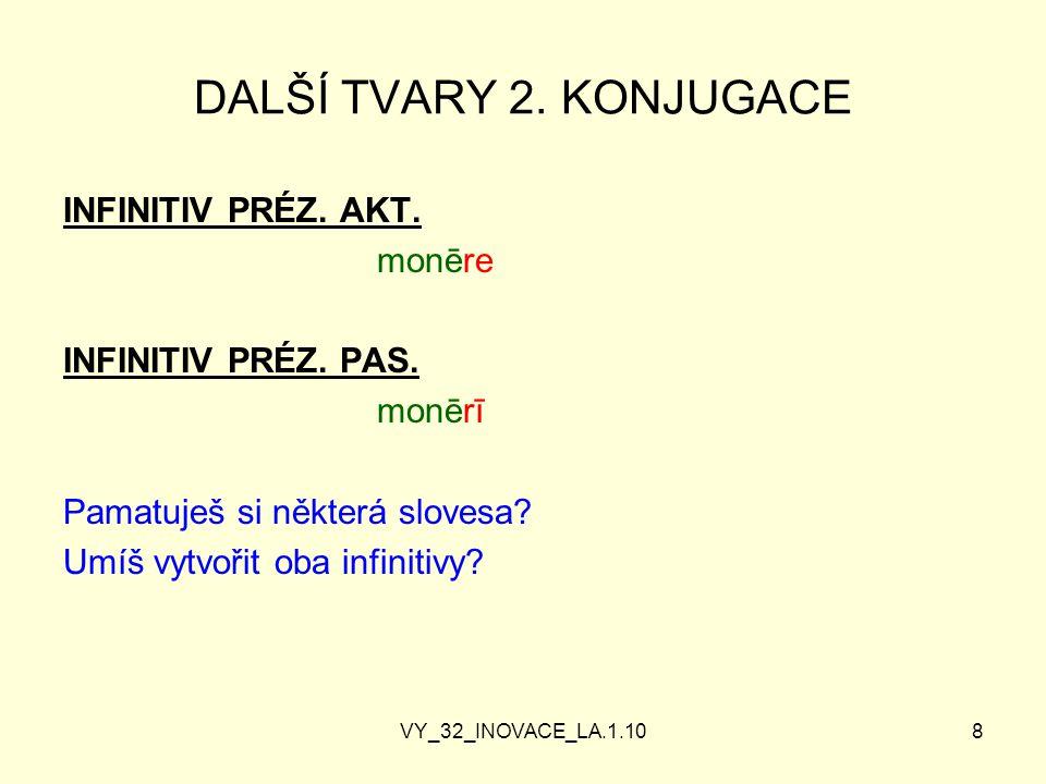 VY_32_INOVACE_LA.1.108 DALŠÍ TVARY 2.KONJUGACE INFINITIV PRÉZ.