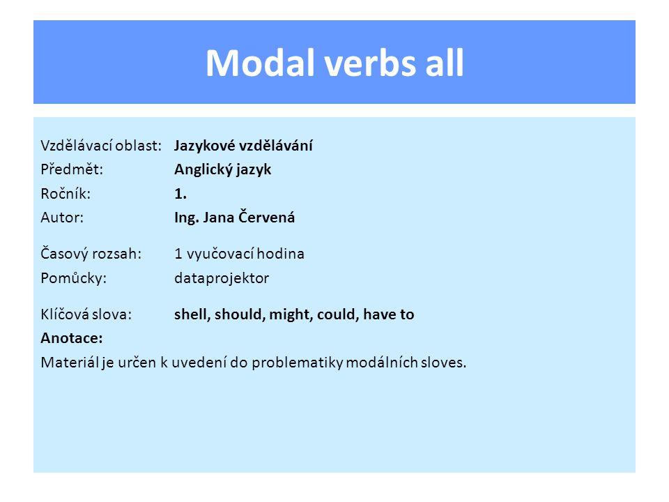 Modal verbs all Vzdělávací oblast:Jazykové vzdělávání Předmět:Anglický jazyk Ročník:1.