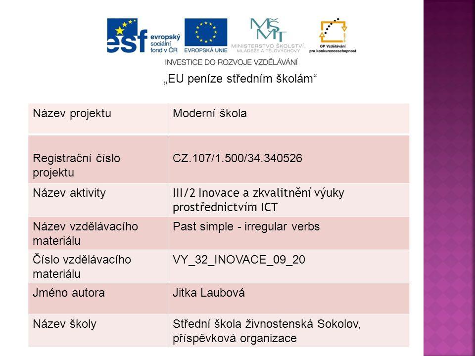 Název projektuModerní škola Registrační číslo projektu CZ.107/1.500/34.340526 Název aktivity III/2 Inovace a zkvalitnění výuky prostřednictvím ICT Náz