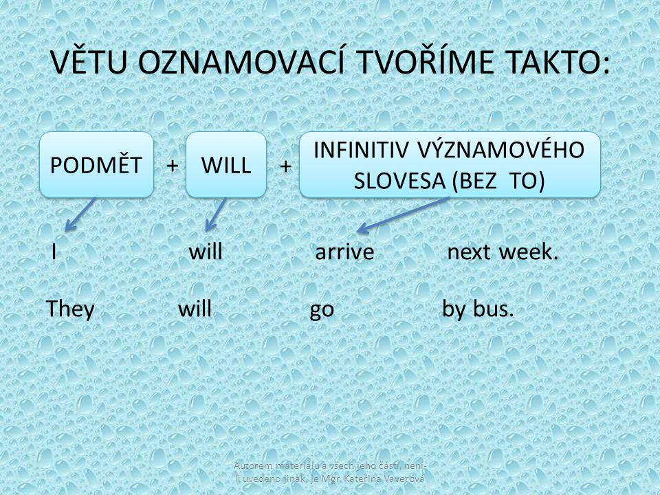 VĚTU OZNAMOVACÍ TVOŘÍME TAKTO: PODMĚT WILL INFINITIV VÝZNAMOVÉHO SLOVESA (BEZ TO) + + I will arrive next week.