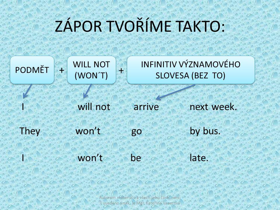 ZÁPOR TVOŘÍME TAKTO: PODMĚT WILL NOT (WON´T) WILL NOT (WON´T) INFINITIV VÝZNAMOVÉHO SLOVESA (BEZ TO) + + Iwill not arrive next week.