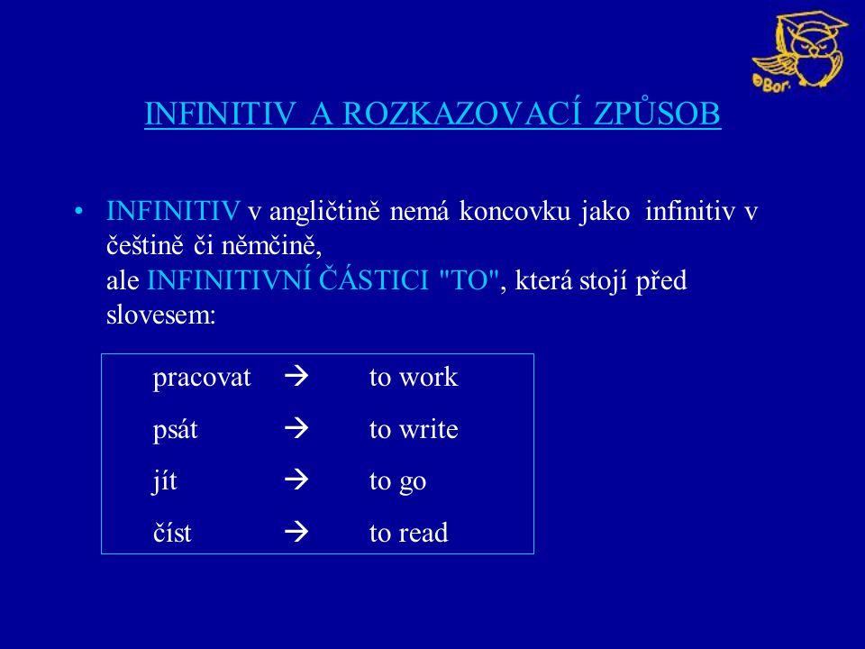 INFINITIV A ROZKAZOVACÍ ZPŮSOB INFINITIV v angličtině nemá koncovku jako infinitiv v češtině či němčině, ale INFINITIVNÍ ČÁSTICI