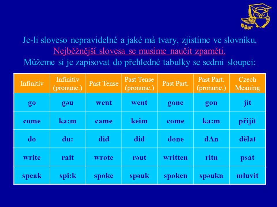 Je-li sloveso nepravidelné a jaké má tvary, zjistíme ve slovníku. Nejběžnější slovesa se musíme naučit zpaměti. Můžeme si je zapisovat do přehledné ta