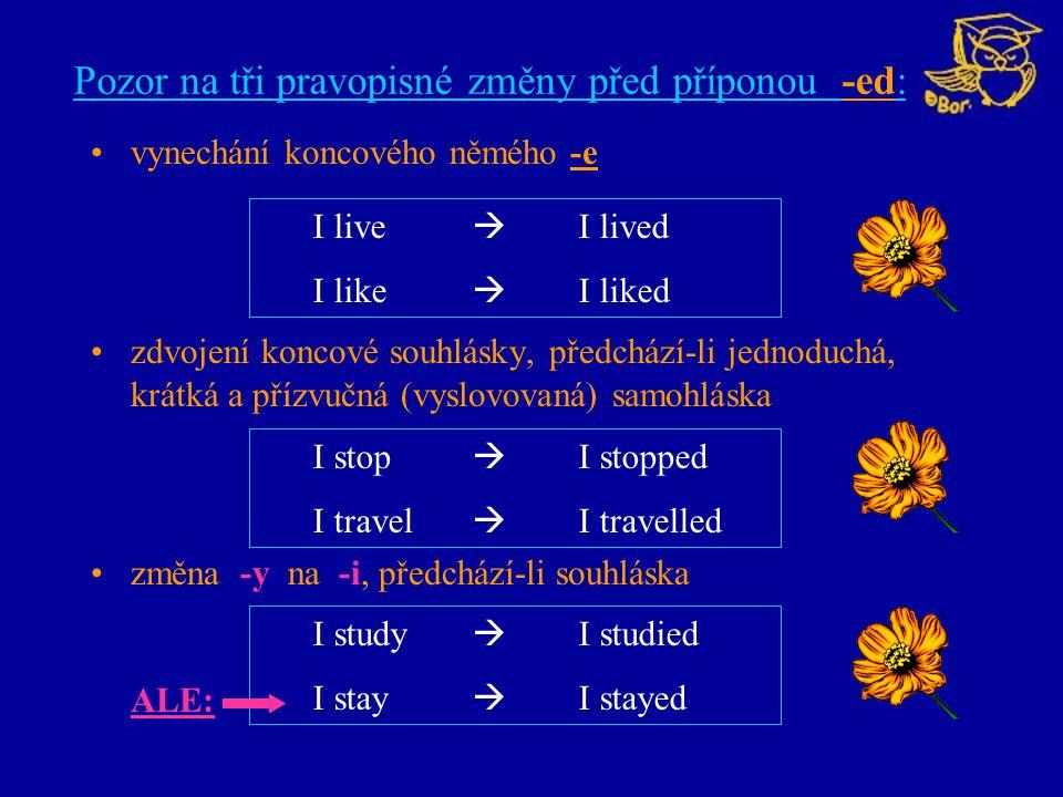 Pozor na tři pravopisné změny před příponou -ed: vynechání koncového němého -e zdvojení koncové souhlásky, předchází-li jednoduchá, krátká a přízvučná