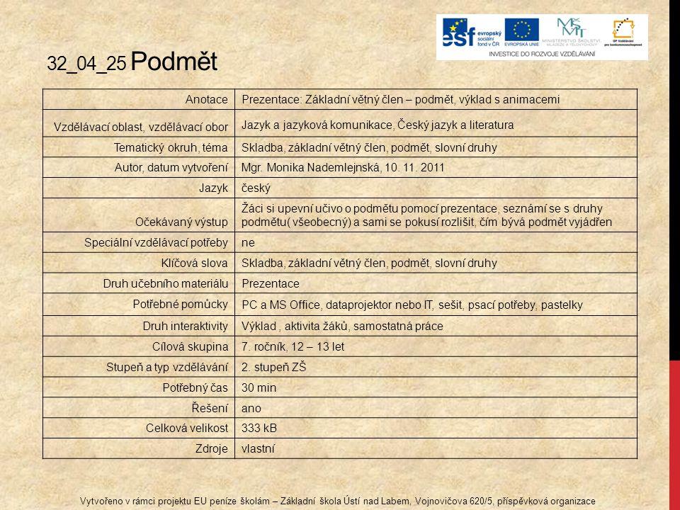 32_04_25 Podmět Vytvořeno v rámci projektu EU peníze školám – Základní škola Ústí nad Labem, Vojnovičova 620/5, příspěvková organizace AnotacePrezenta